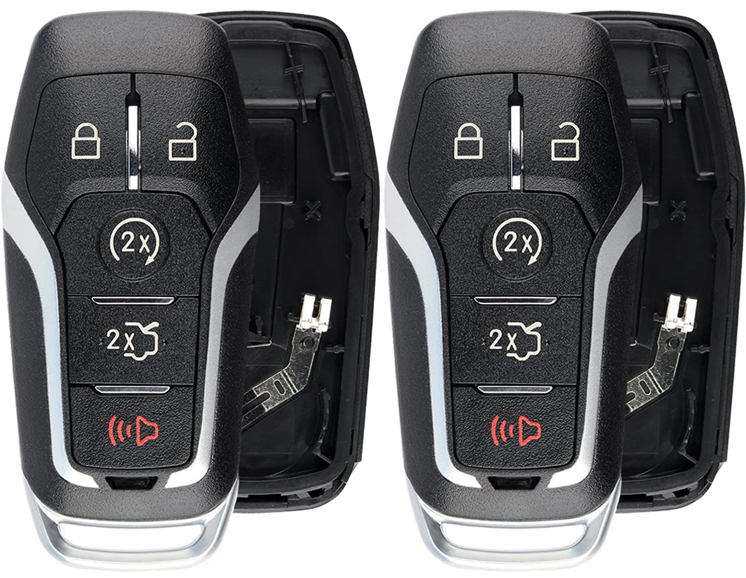 KeylessOption Keyless Entry Remote Smart Key Fob Shell Case Button Pad Cover For Ford Fusion Mustang Edge Pack of 2