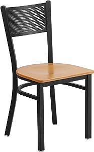 Flash Furniture HERCULES Series Black Grid Back Metal Restaurant Chair - Natural Wood Seat