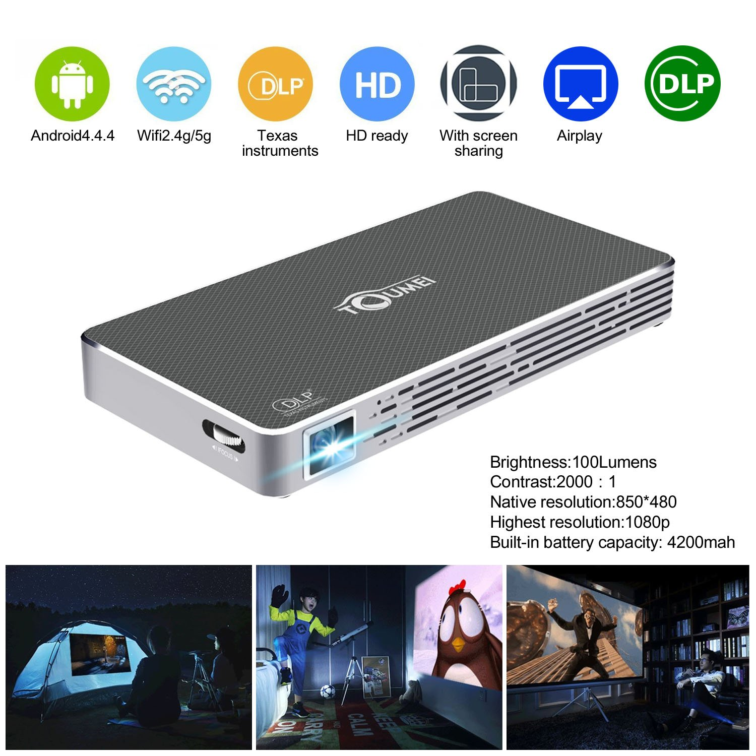 Mini Pico Projector HD DLP Projector hdmi 1080p Portable Wifi Wireless bluetooth home theater projector for smartphone iphone Andriod,TOUMEI C800S Keystone Correction