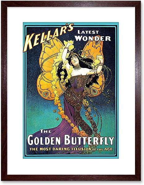 MAGIC KELLAR GOLDEN BUTTERFLY DARING ILLUSION LATEST WONDER VINTAGE POSTER REPRO