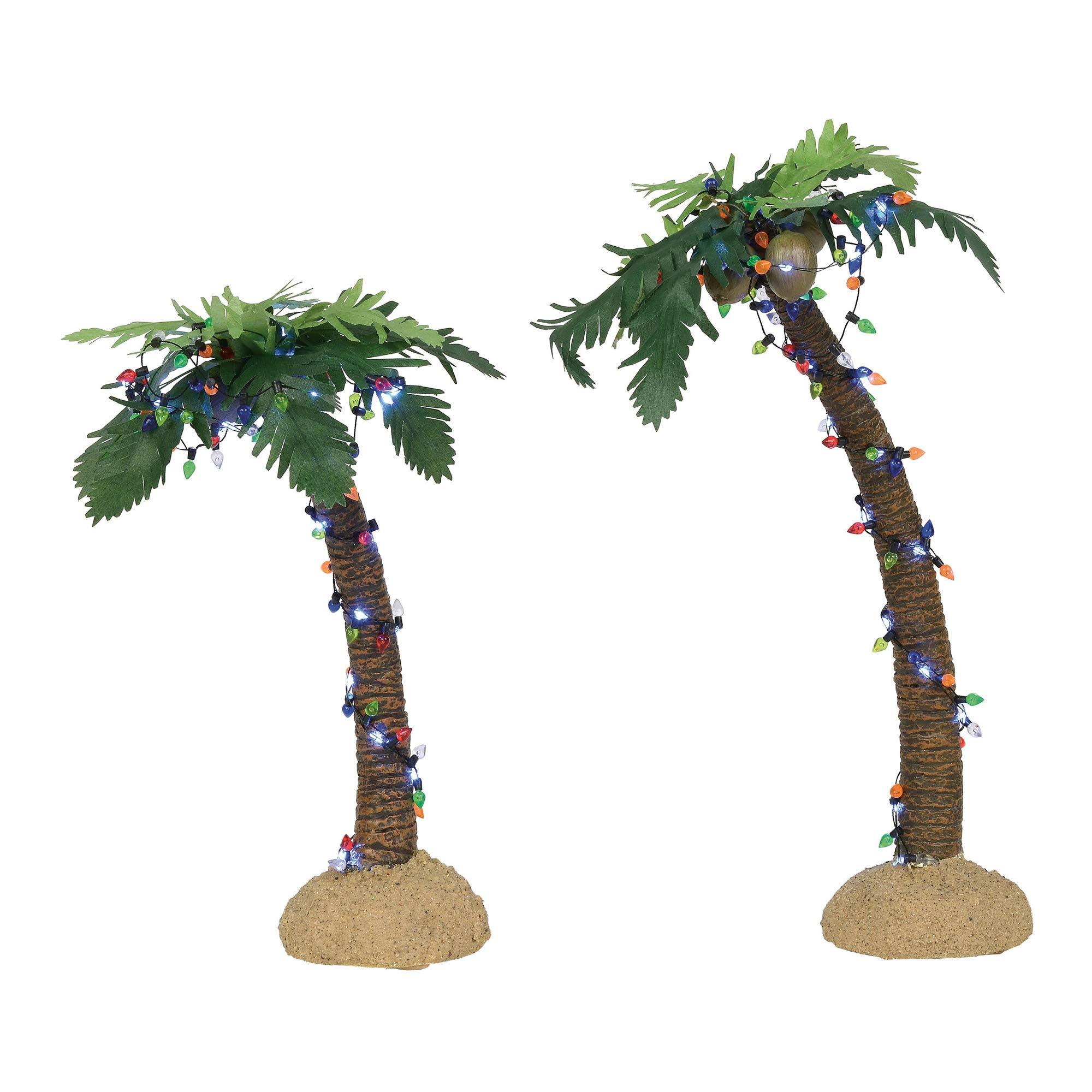 Department 56 Village Cross Product Lit Palm Trees with White Lights Figurine Set, 10.5'' and 12'', Multicolor