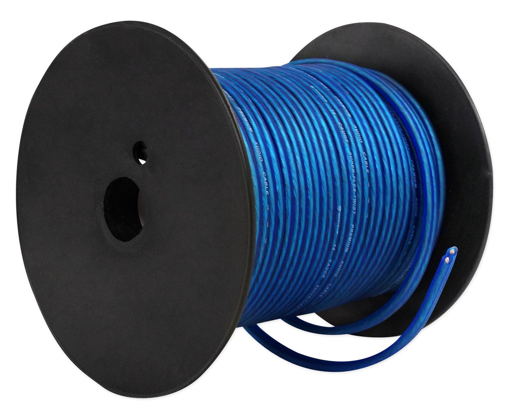 Rockville R14GBLU100 Blue 14 Gauge 100' Foot Mini Spool Car Audio Speaker Wire by Rockville