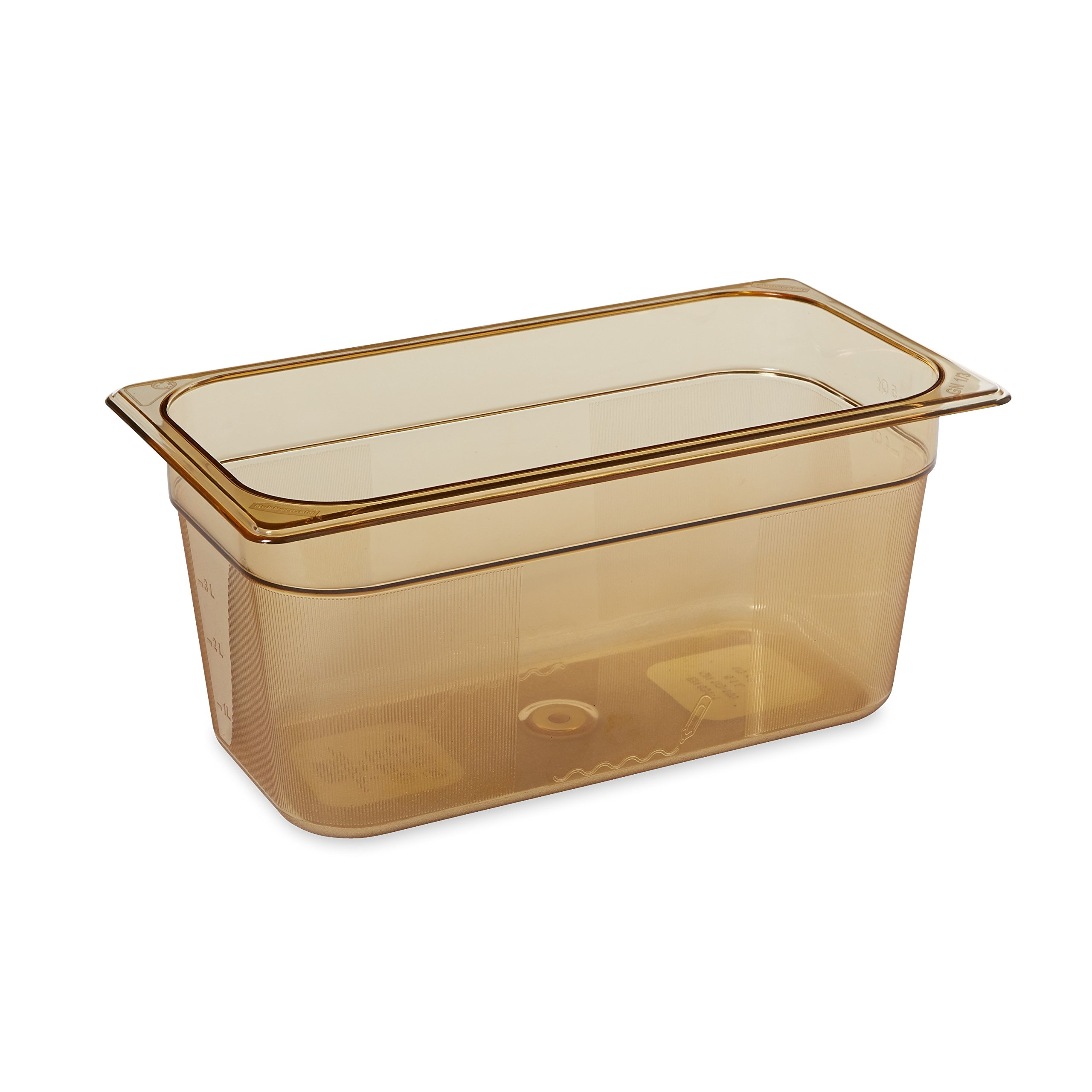 Rubbermaid Commercial Products FG218P00AMBR 1/3 Size 5-3/8-Quart Hot Food Pan, Amber