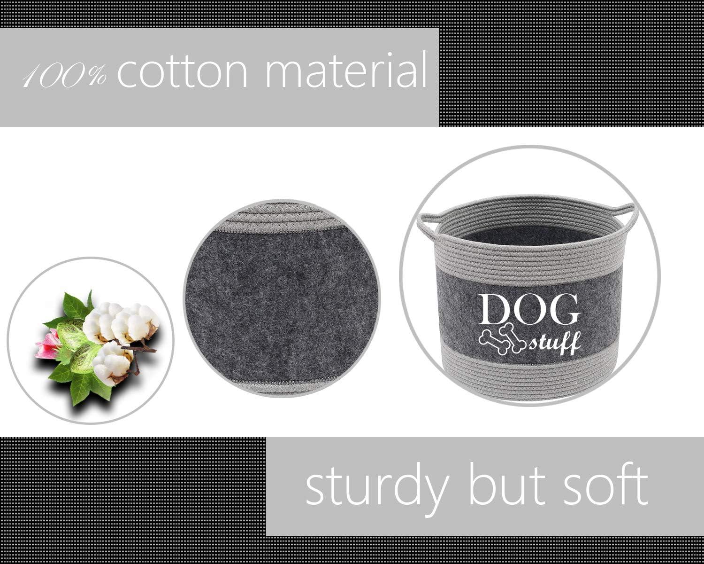 Caja de almacenamiento de cuerda de algod/ón natural y fieltro para perros Geyecete