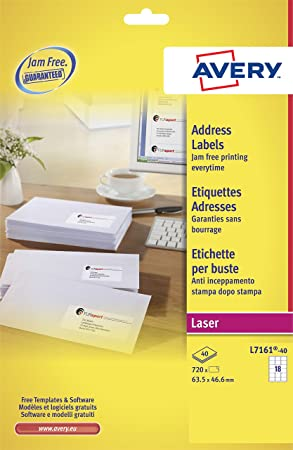 Avery L7161 40 Labels White Amazon Office Products