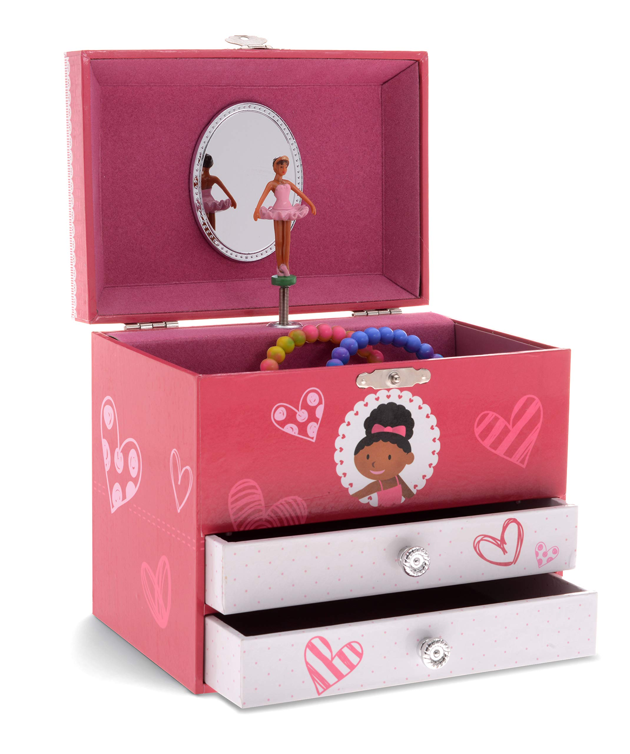JewelKeeper Girl's Musical Ballerina Jewelry Storage Box with 2 Pullout Drawers, Pretty Hearts Design, Swan Lake Tune