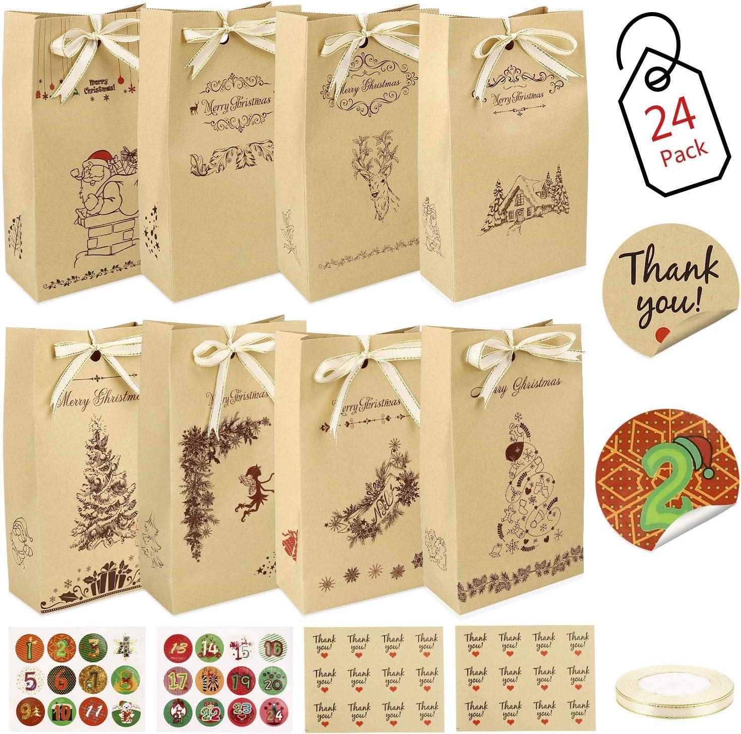 Gafild Bolsas de regalo navidad, 24pcs bolsas para regalos de boda Bolsas de Papel Kraft con 48 Pegatinas para Boda Fiestas Cumpleaños Comida Caramelos Dulces Galletas Chocolates