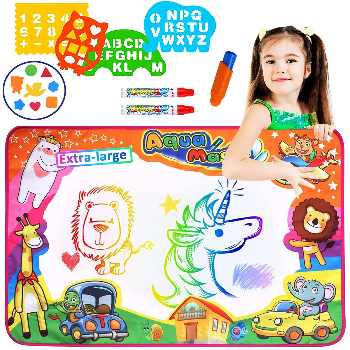 Aitey Aqua Magic Mat, Water Drawing Mat for Toddlers Painting Board with Magic Color Pen, EVA Drawing and Plastic Molds Kids Educational Toys Gift