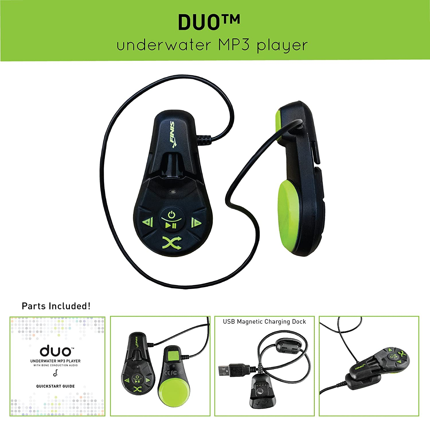 FINIS Duo Underwater Bone Conduction MP3 Player Electronics ...