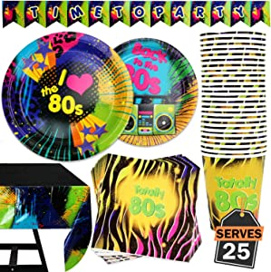 102 Piece 80's Themed Party Supplies Set Including Banner, Plates, Cups, Napkins, and Tablecloth, Serves 25