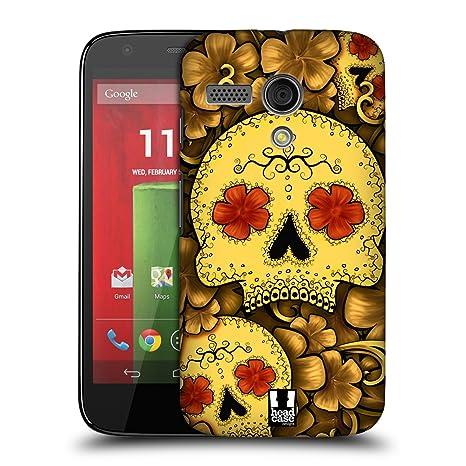 Head Case Designs – Carcasa de calaveras carcasa rígida para Motorola teléfonos 1, plástico, dorado, Motorola Moto G (1st Gen)