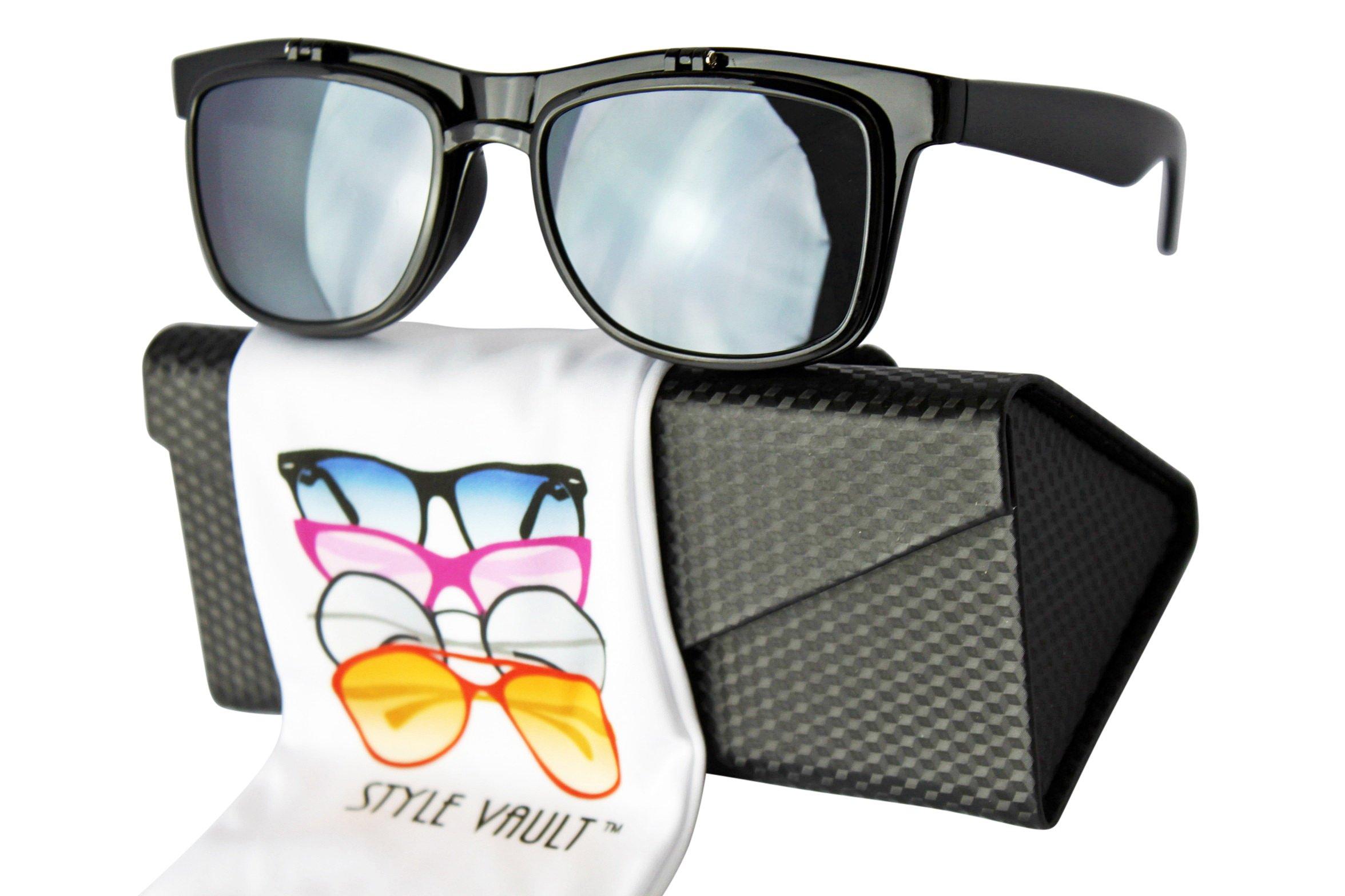 W3031-ec Style Vault Plastic Flip Up Wayfarer Sunglasses (B3325F Black-Dark, UV400)
