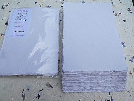 Papel para acuarela hecho a mano (A3, 10 láminas, liso, 350 g/m2, Linters de algodón): Amazon.es: Oficina y papelería