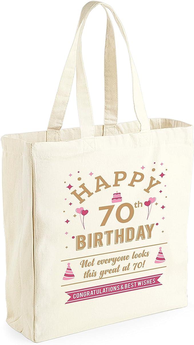 Bolsa de lona de algodón de 70 cumpleaños - Para mujer - Como regalo, recuerdo o para hacer la compra - Natural - 33 x 42 x 19 cm: Amazon.es: Ropa y accesorios