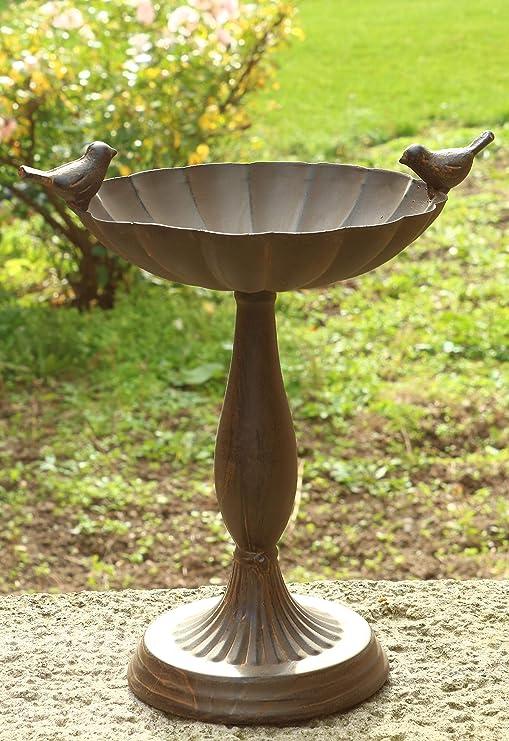 AmaCasa Bebedero para pájaros Adornado con Figuras de pájaros sobre pie. Color: marrón Oxidado. Dimensiones: 21 x 16, 5 x 25 cm. Fantástica Bebida de Agua para Bebidas.: Amazon.es: Jardín
