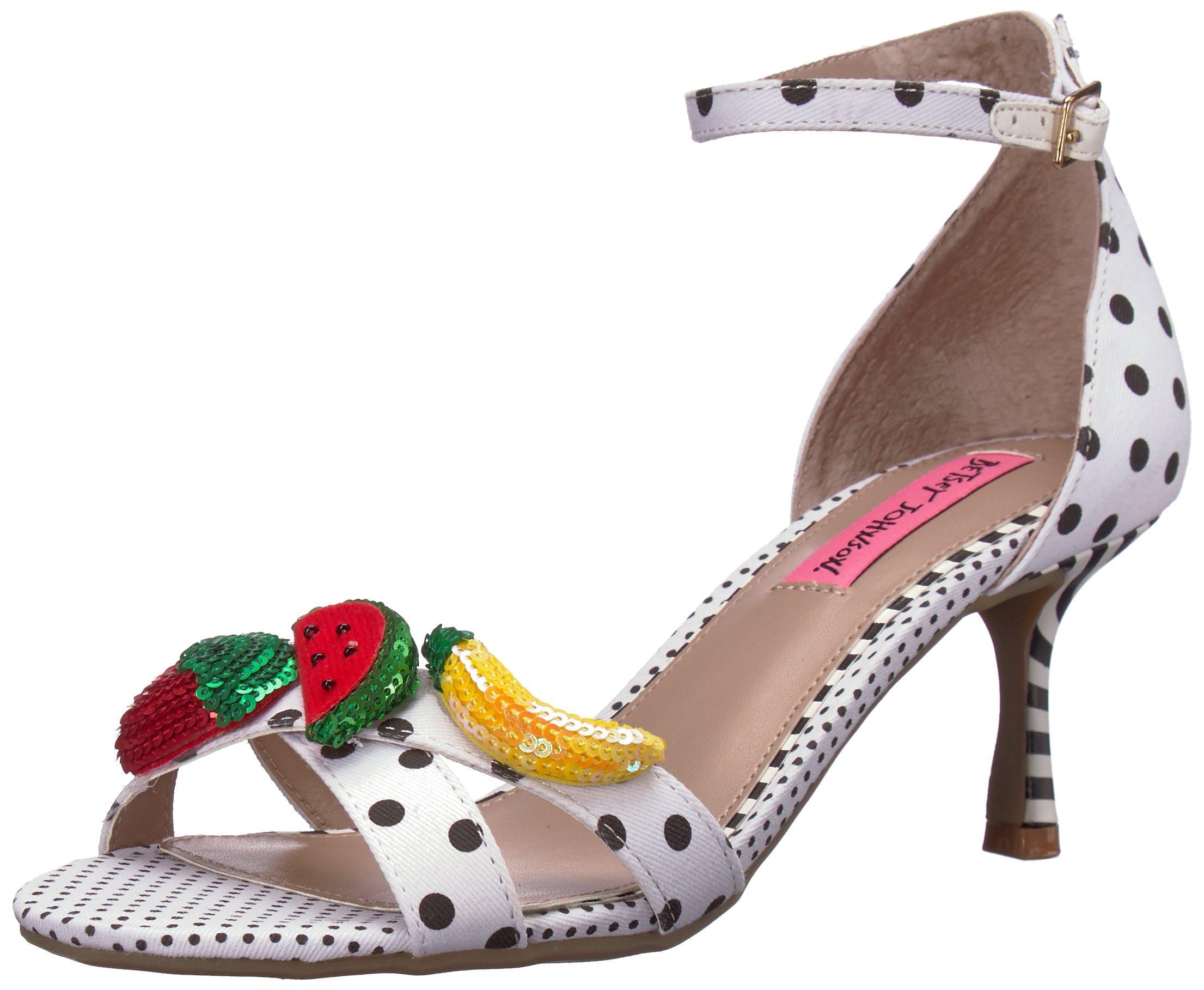 Betsey Johnson Women's Jordan Heeled Sandal, White/Multi, 9 M US
