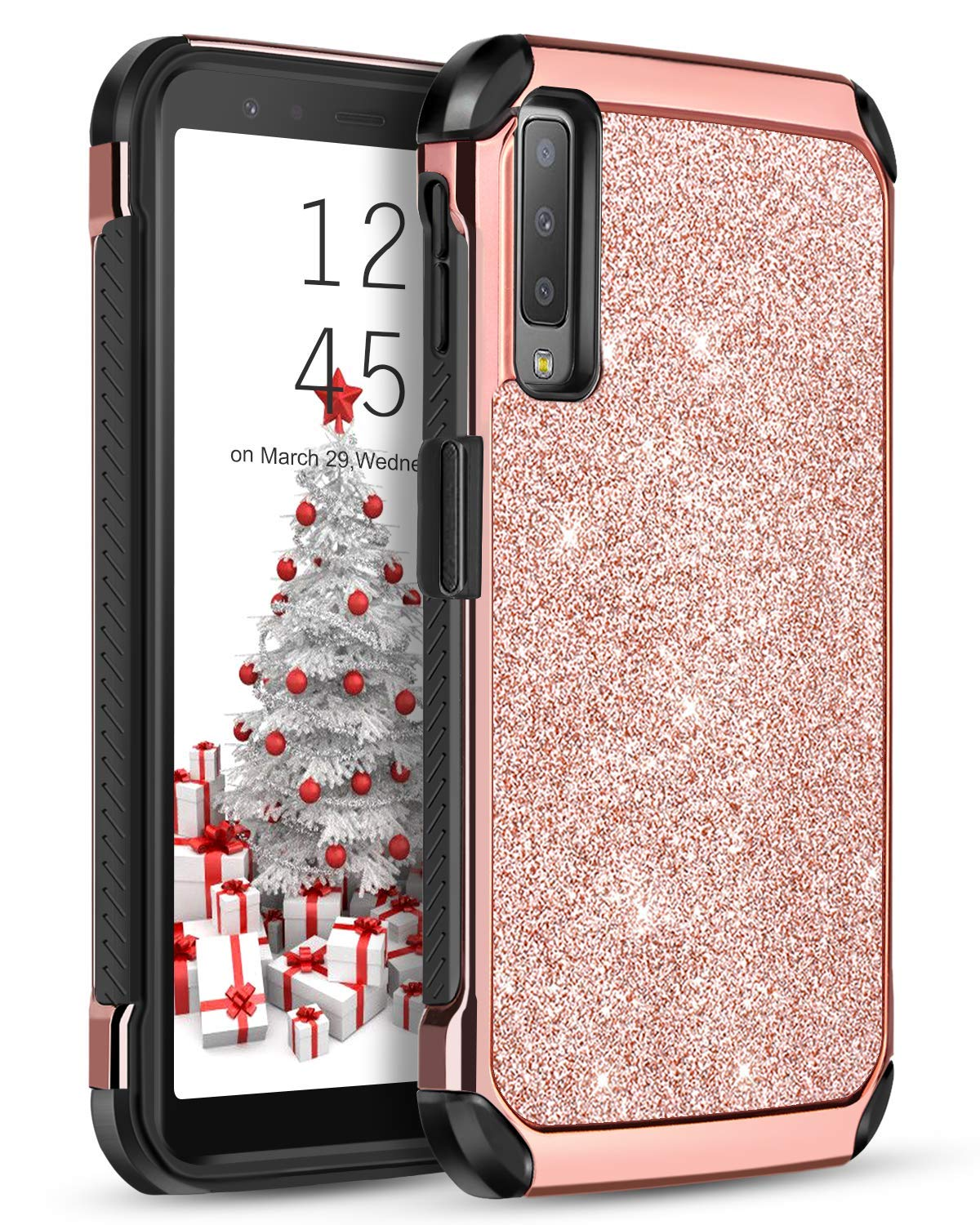 Samsung Galaxy A7 2018 Case, YINLAI Glitter Bling 2 in 1 Slim Hybrid Soft TPU Bumper Hard PC Cover with Shiny PU Leather Shockproof Protective Phone Cases for Samsung Galaxy A7 2018 SM-A750 Rose Gold