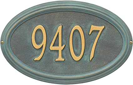 Whitehall Personalized Address Plaque Custom 1 Line Cast Aluminum Concord Oval House Number Wall Sign 15 W X 9 5 H Bronze Verdigris Garden Outdoor