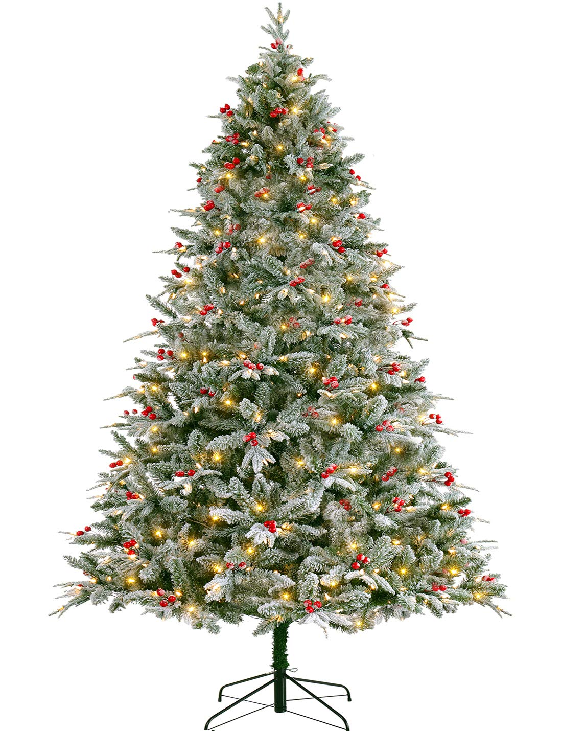 Realistic Flocked Christmas Tree Pre-lit 9 ft with LED ...