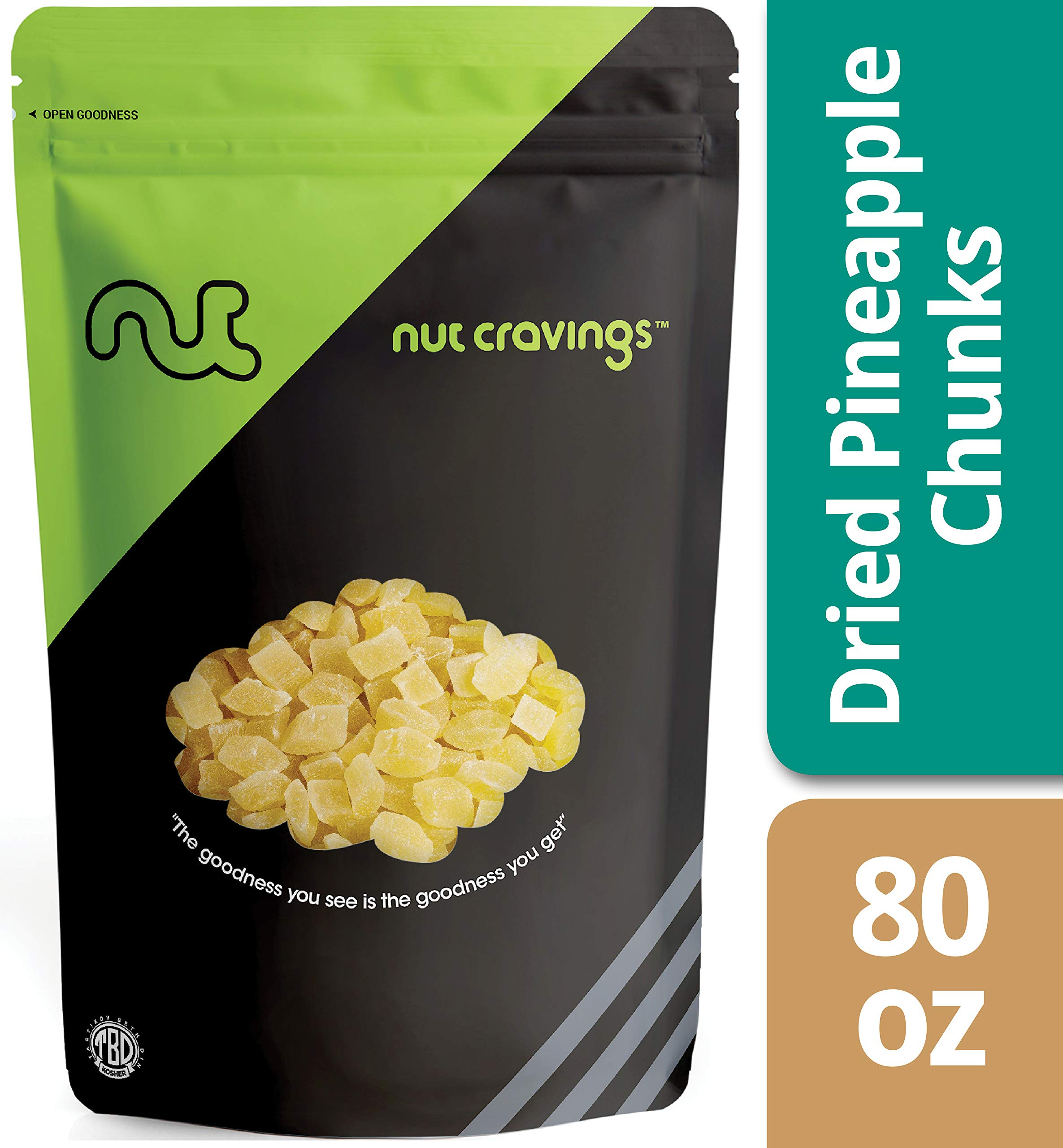 Nut Cravings Dried Pineapple Chunks - Sweet, Healthy Dehydrated Fruit Snacks with Sugar Added - 80 Ounce by Nut Cravings