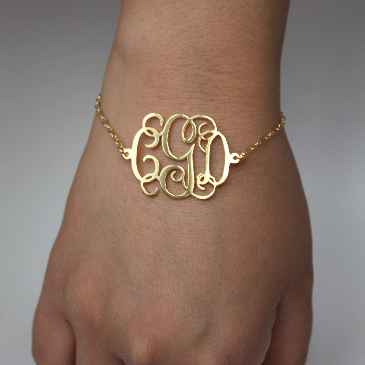 Monogram Bracelet - 1.2 inch, 100% Sterling Silver, Custom Made Monogram Bracelet with Any Initial, monogrammed gifts