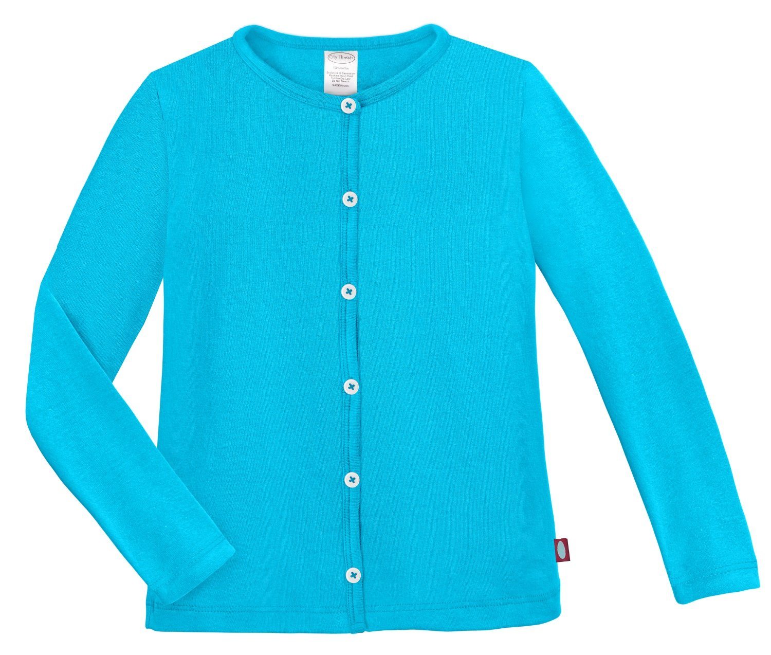 City Threads Girls Cardigan Top Button Down Sweater Layering School Play For Sensitive Skin SPD Sensory Friendly, Turquoise, 6 by City Threads (Image #3)