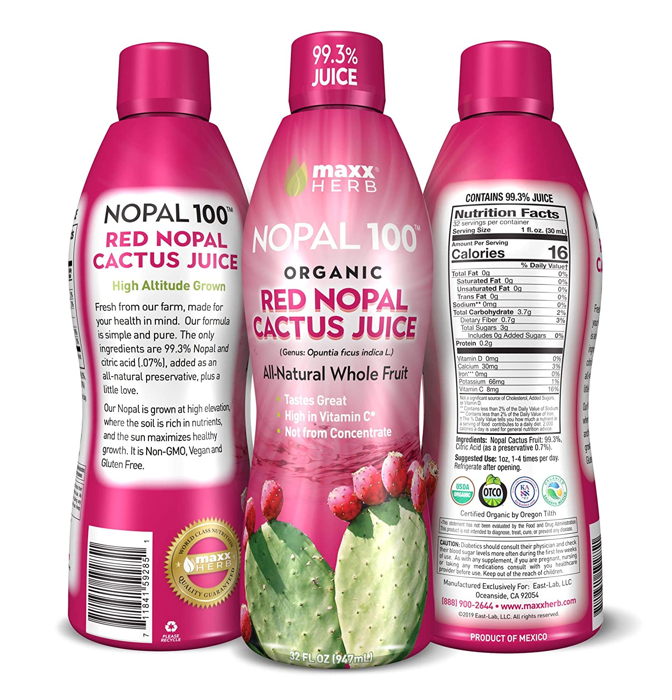 Maxx Herb Organic Nopal Cactus Juice (32 oz), Prickly Pear Cactus Juice – Antioxidant Super-fruit, Supports Blood Sugar Balance, Inflammation Response, Non-GMO and Gluten Free - 1 Bottle