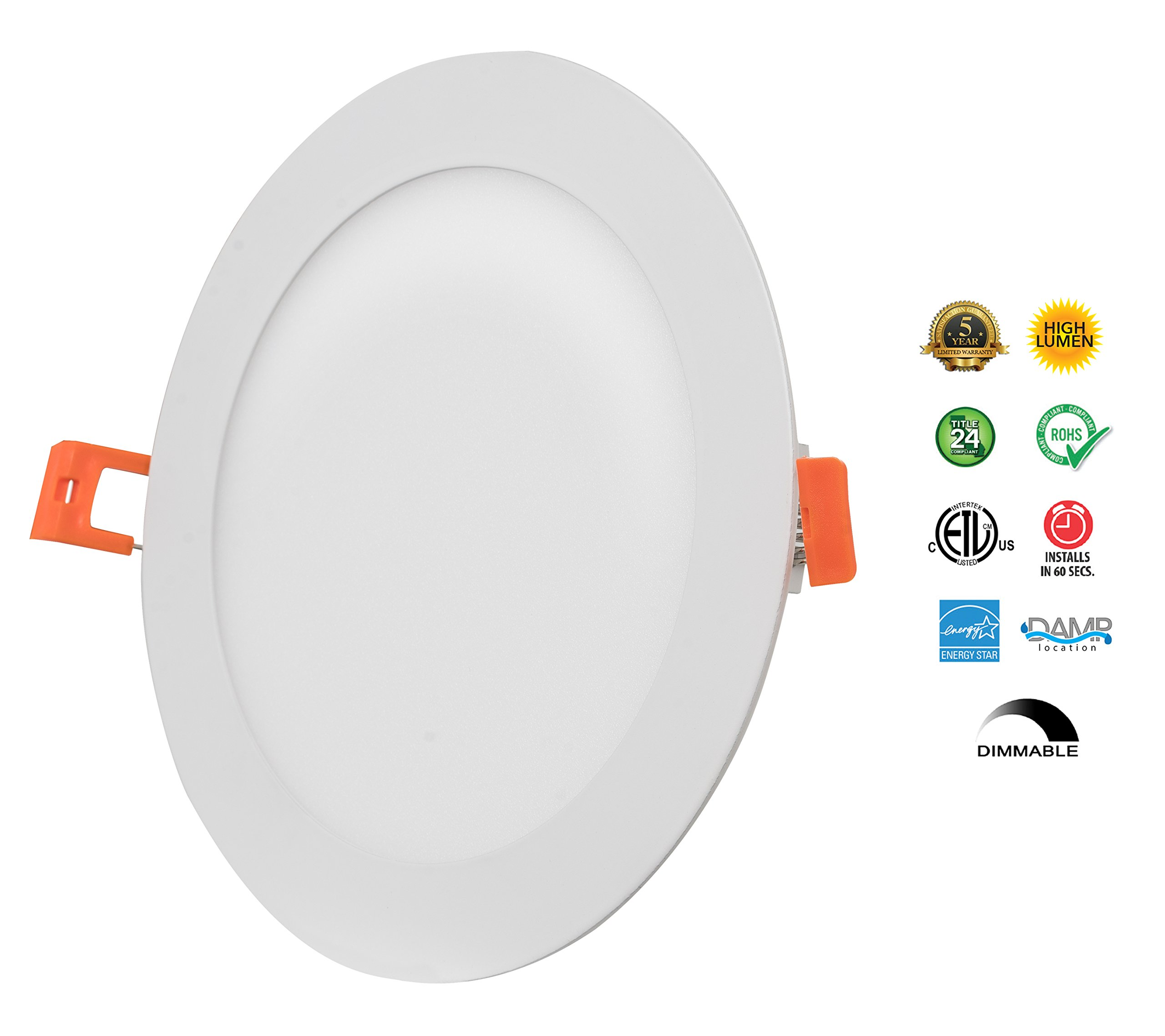 Westgate Lighting 15W 6'' Inch Ultra Thin Slim LED Recessed Light - Dimmable Retrofit Downlight Smooth Trim - Junction Box Included - No Housing Required - Ceiling Lights (8 Pack, 3000K Soft White) by Westgate (Image #6)