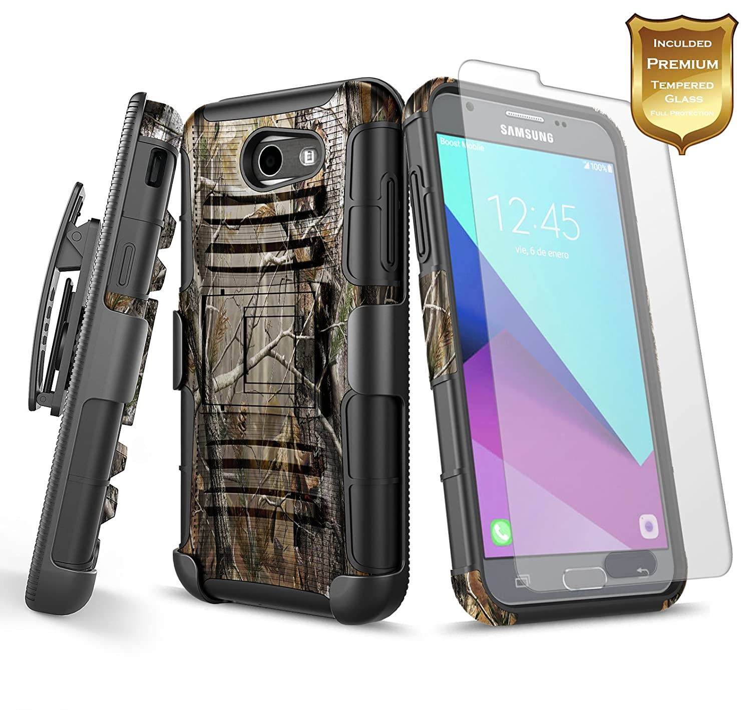 Galaxy J3 Prime Case Luna Pro Emerge Eclipse Tempered Glass Full Color Samsung Cover 2017 Mission W Screen Protector Nagebee Belt Clip Holster