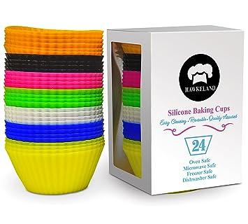 24 – Pack de silicona para cupcakes, reutilizable, moldes para cupcakes, magdalenas para