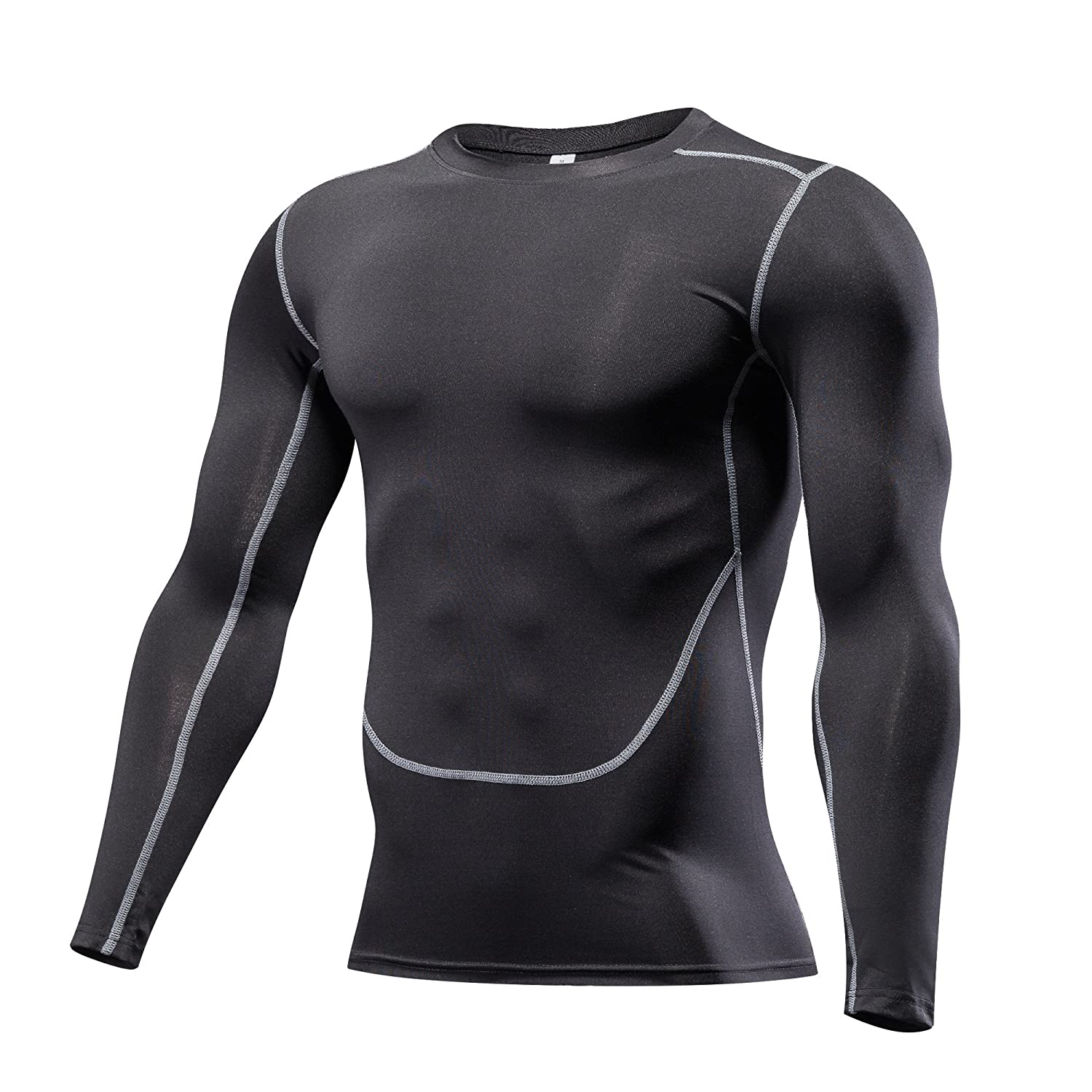 Findci Casual Shirts Mens Long Sleeves Sports Tight Tops Workout Sweatshirt