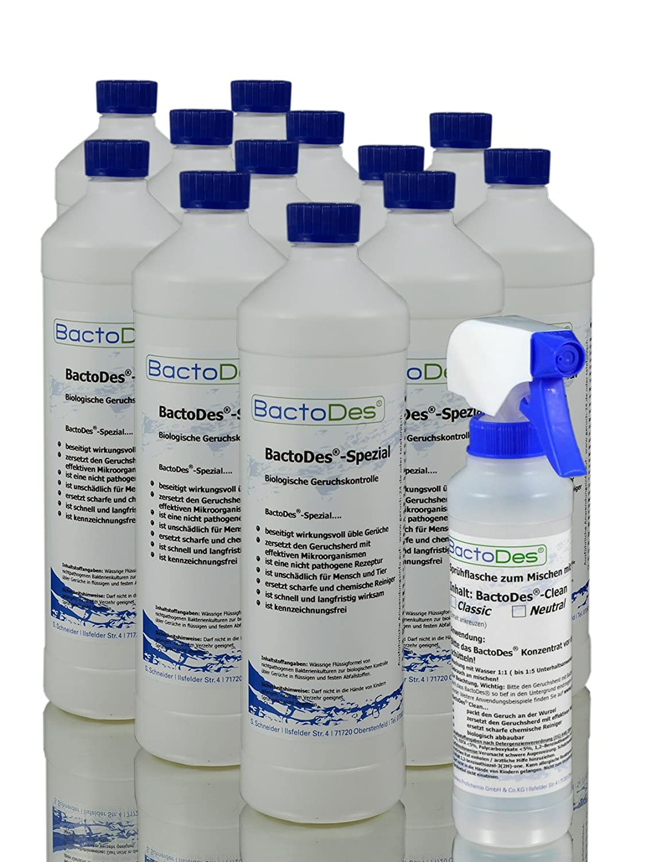 BactoDes Spezial Allround Geruchsentferner-Konzentrat (mind.doppelte Menge an Gebrauchslösung) | Allzweck- und Urin-Geruchsneutralisierer z.B. bei menschlichem Urin (Harn-Inkontinenz, Bettnässer), Tier-Uringeruch (Hunde-Urin, Katzen-Urin), Erbrochenes etc. | inkl. Geruchsneutralisierer-Spray-Flasche
