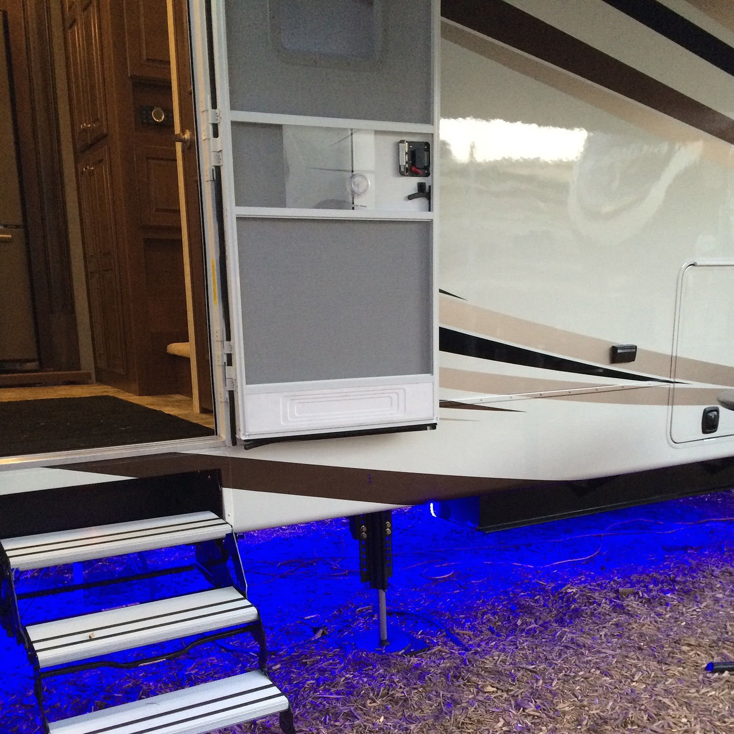 RV Recreational Vehicle Awning LED Light Strip RGB Multi Colored with 44 Key IR Remote and Power Source (4 Foot Length)