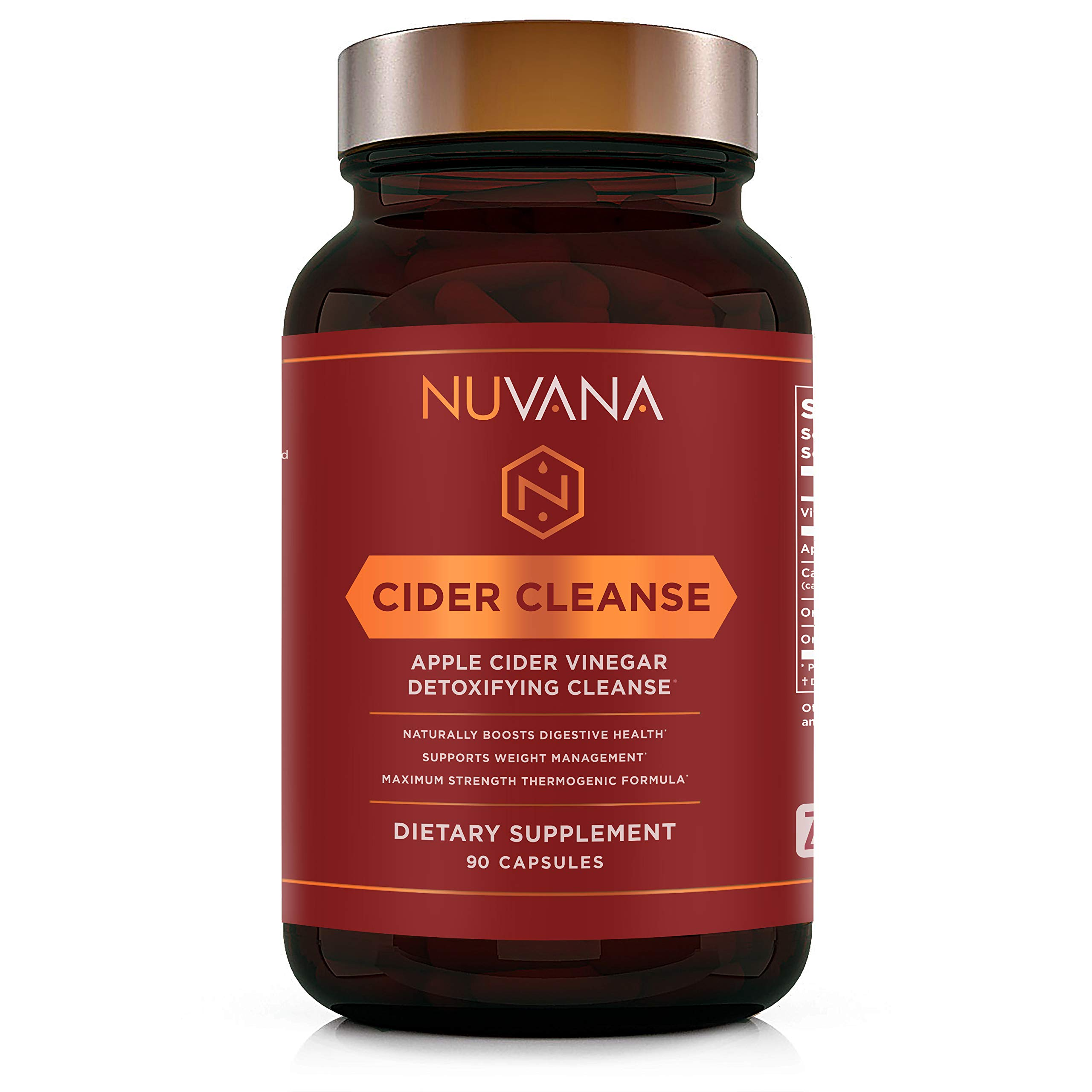Cider Cleanse | Apple Cider Vinegar with Organic Ginger, Cinnamon, Cayenne Pepper and Vitamin C | Max Strength Thermogenic Fat Burner Pills for Improved Digestion and Detox | 90 Vegan Capsules by Nuvana