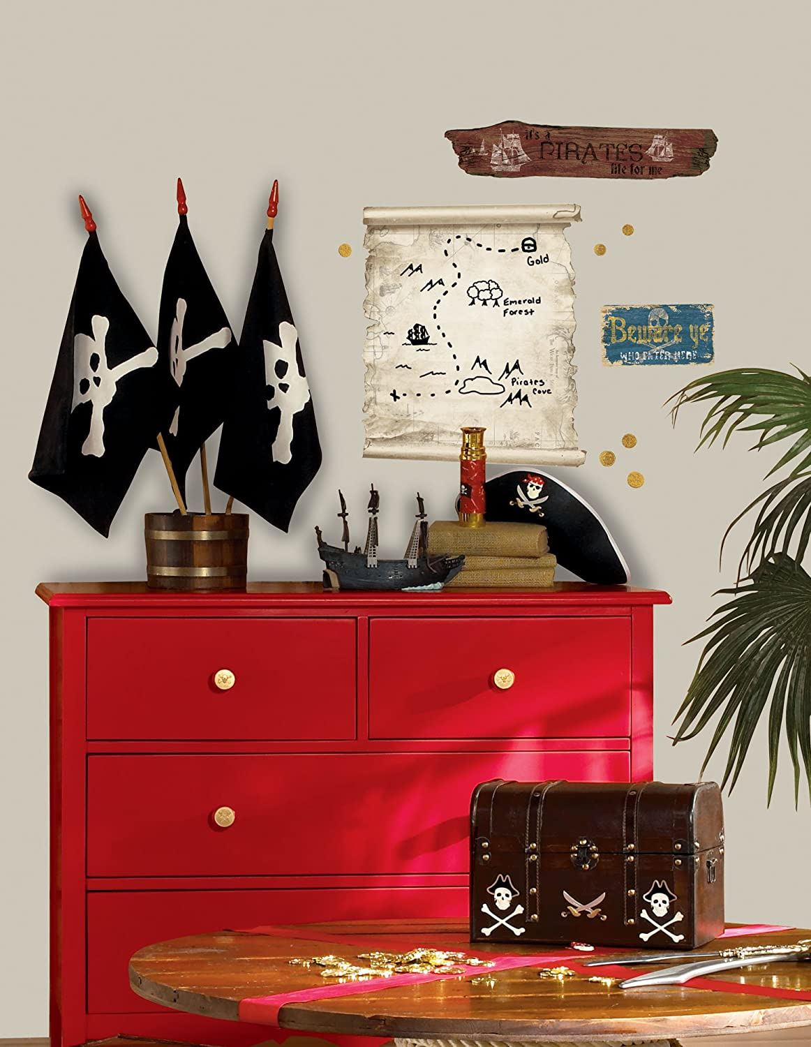 RoomMates RMK1883GM Pirates Maps And Signs Peel And Stick Giant Wall Decals    Wall Murals   Amazon.com Part 65