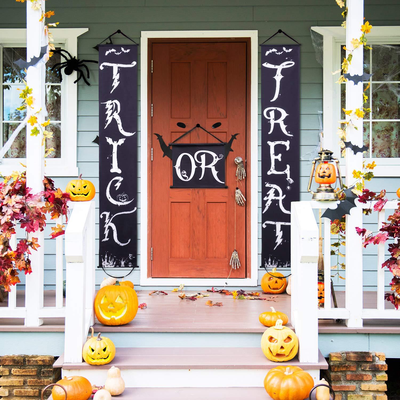 Halloween Door Decorations Trick or Treat Banner Halloween Porch Sign Banner Hanging Decoration for Halloween Home Front Door Decorations