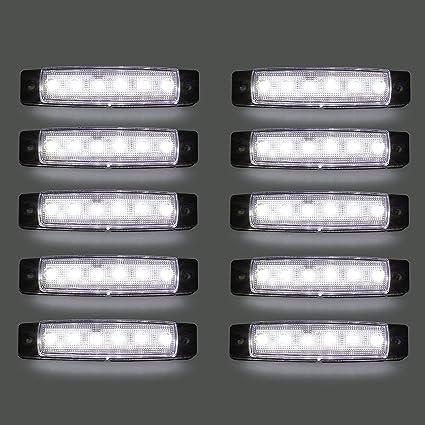 Led Seitenmarkierungsleuchten 10 Stücke Led Lkw Seitenlichter 6 Smd Led Seitenmarkierungs Kontrollleuchte Vorne Hinten Seitenlicht Positionslampen 12 V Für Auto Weiß Auto