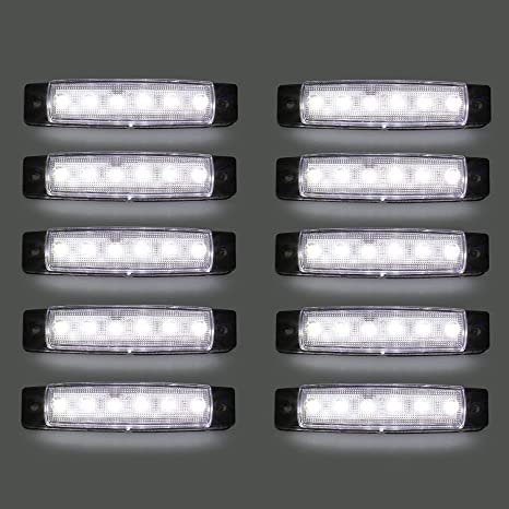 10 St/ücke 24V LED Lkw Seitenlichter 6 SMD LED Seitenmarkierungs-kontrollleuchte Vorne Hinten Seitenlicht Positionslampen f/ür Auto Gr/ün LED-Seitenmarkierungsleuchten