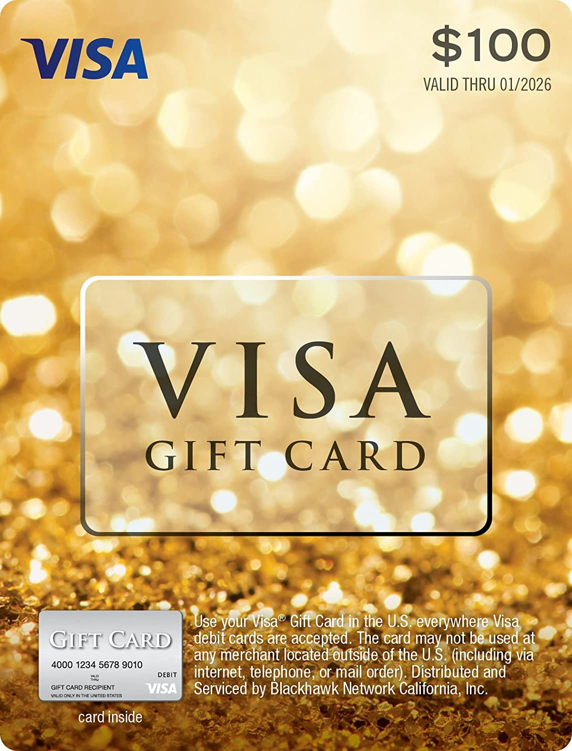 Amazon.com: $100 Visa Gift Card (plus $5.95 Purchase Fee): Gift Cards
