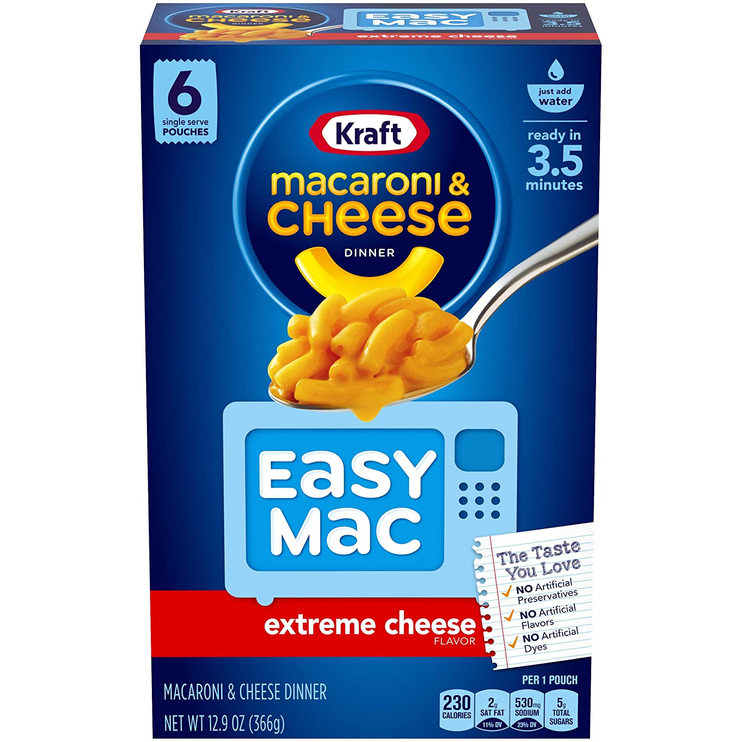 Kraft Easy Mac Extreme Cheese Macaroni and Cheese, 6 ct - 12.9 oz Box (Pack of 8)