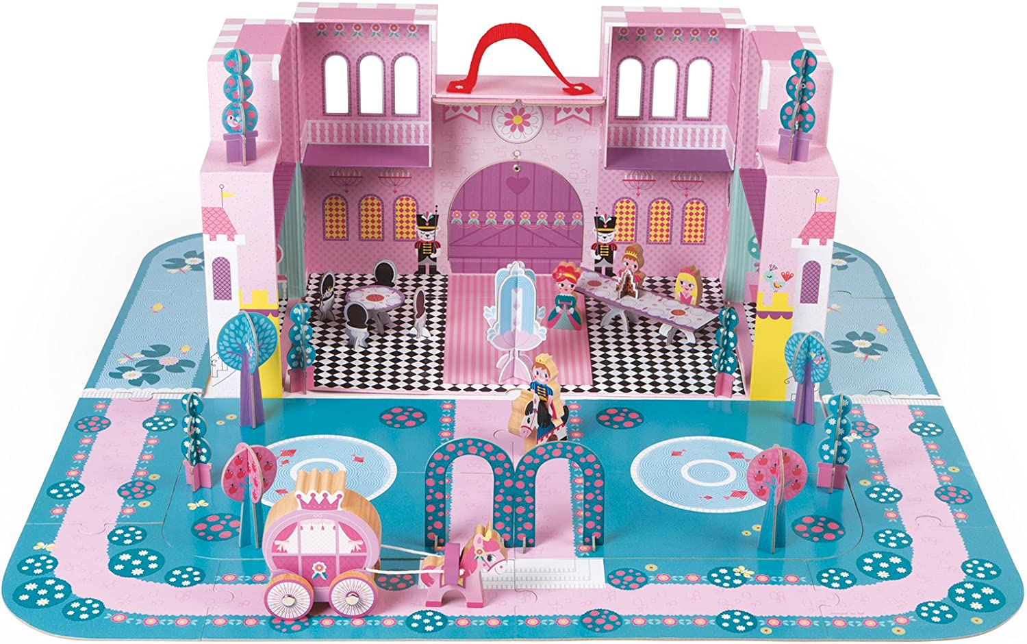 Janod Enchanted Castle Princess Palace Playset with Carrying Case-Colorful 2 - Level Castle with Reversible Puzzle Play Mat and 28 Accessories - Encourages Kids to Imagine, Invent and Create-Ages 4+