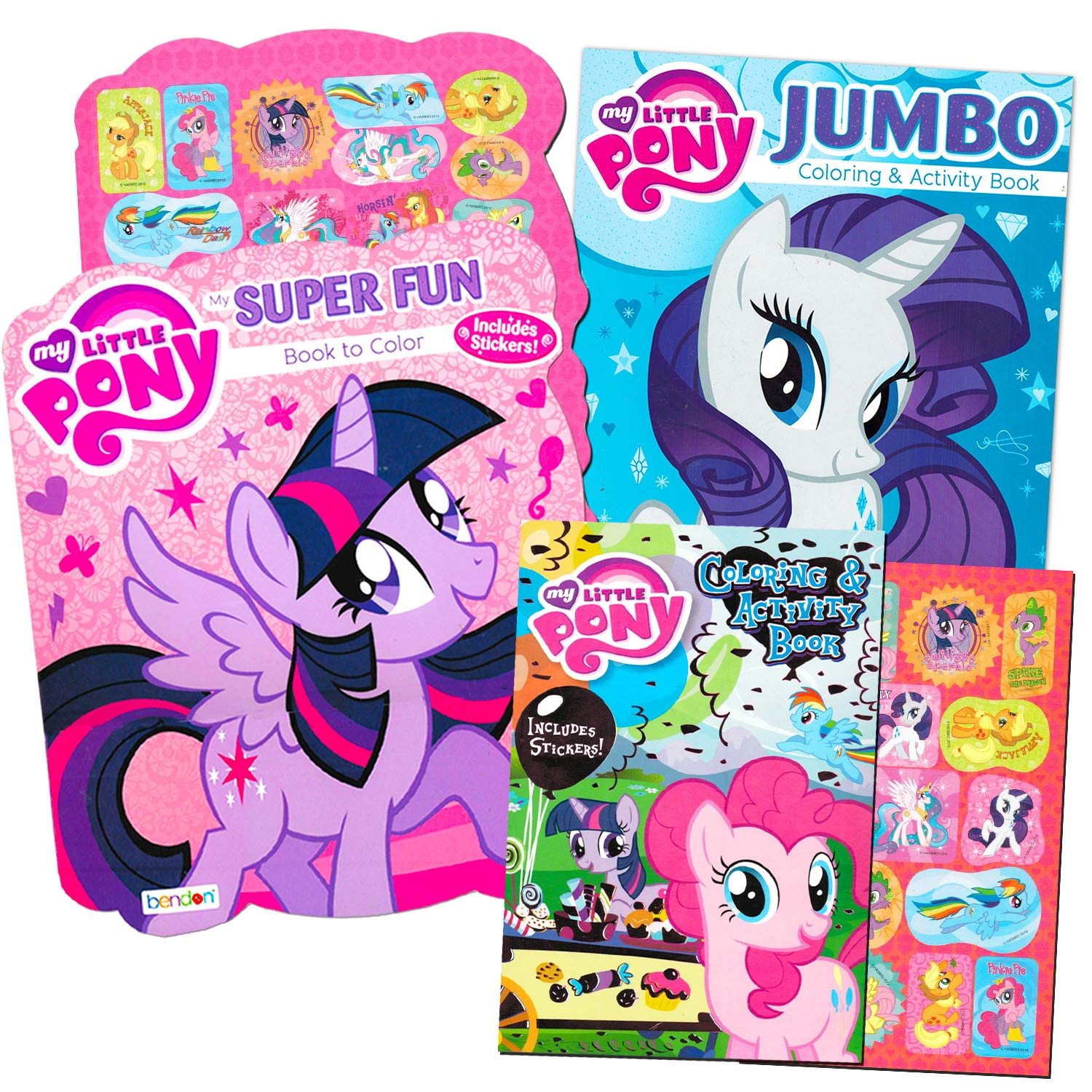 Amazon My Little Pony Coloring Book Super Set With Stickers 3 Jumbo Books