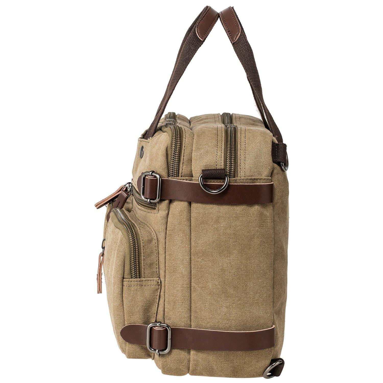 HIKA Vintage 3-Way Convertible Briefcase Laptop Backpack Messenger Bag Backpack-Vintage Khaki by HIKA (Image #4)