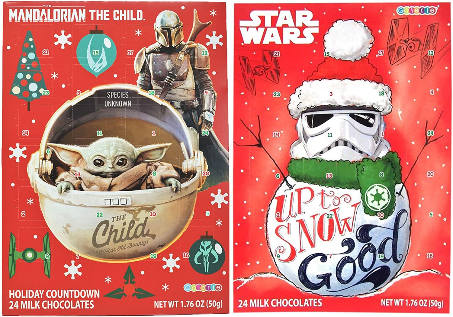 Needzo Star Wars The Mandalorian The Child and Storm Trooper Chocolate Candy Filled 2020 Christmas Advent Calendar, Pack of 2