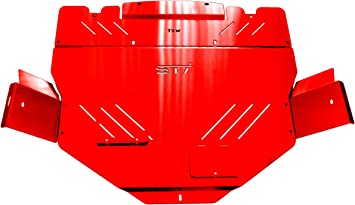 RED TBW Aluminum Under Tray Skid Plate for 2011-2014 Subaru WRX /& STI