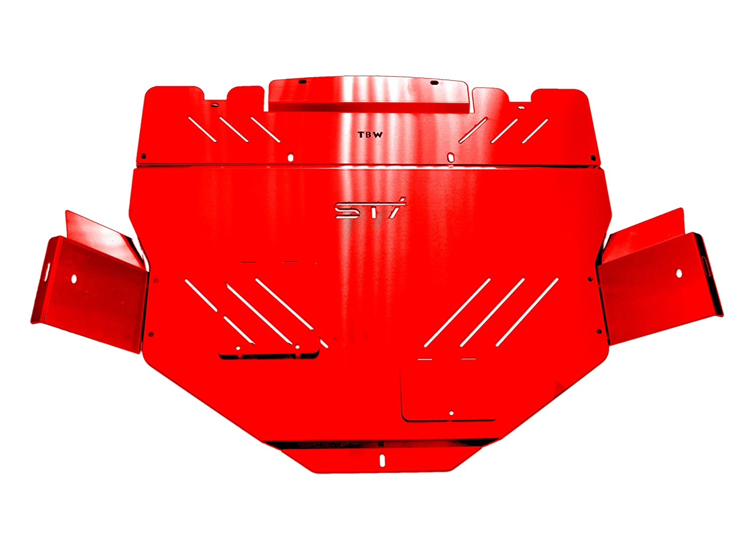 RED TBW Aluminum Under Tray Skid Plate for 2015+ Subaru STI TBW Performance