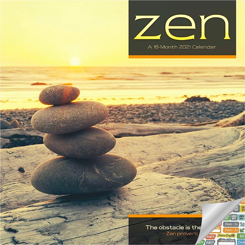 Zen Calendar 2021 Bundle - Deluxe 2021 Zen Meditation Mini Calendar with Over 100 Calendar Stickers (Mindfulness Gifts, Office Supplies)