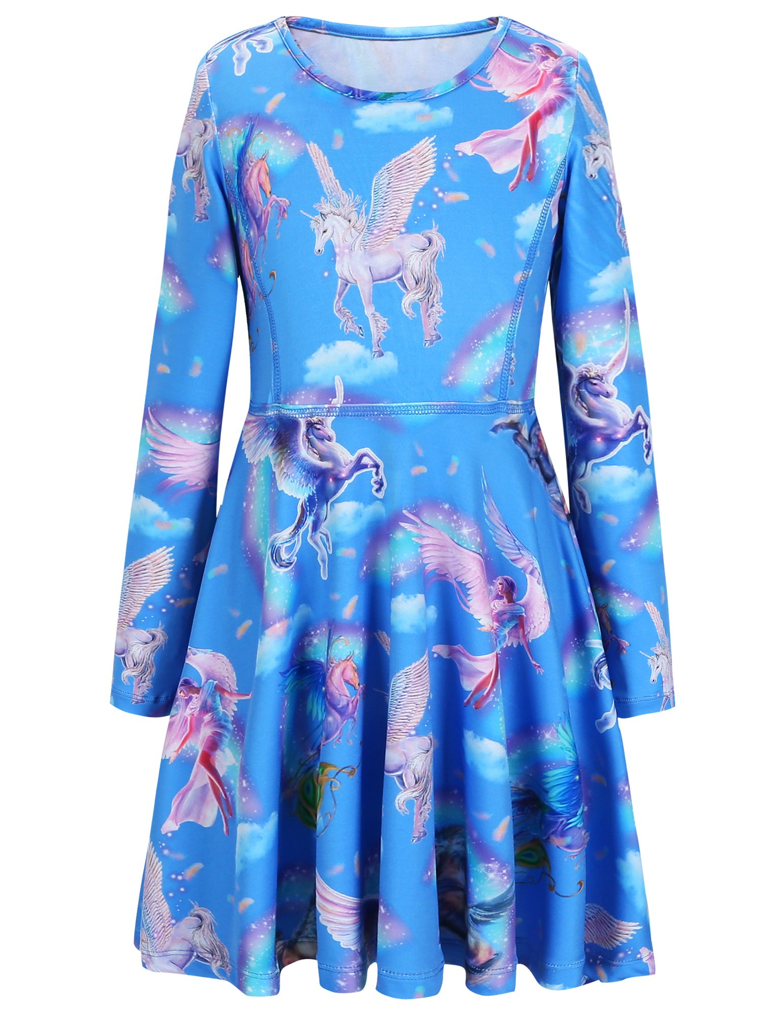 Jxstar Girls Dress Sky Unicorn Print Dress Long Sleeve Tshirt Dress Sky Unicorn 130