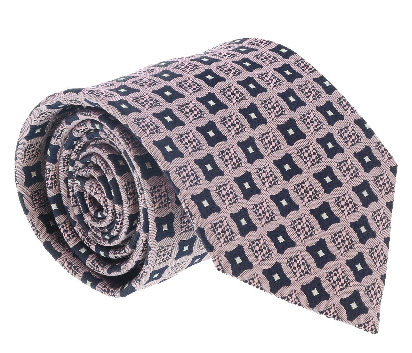 Ermenegildo Zegna Pink-Navy Curved Square Tie for mens