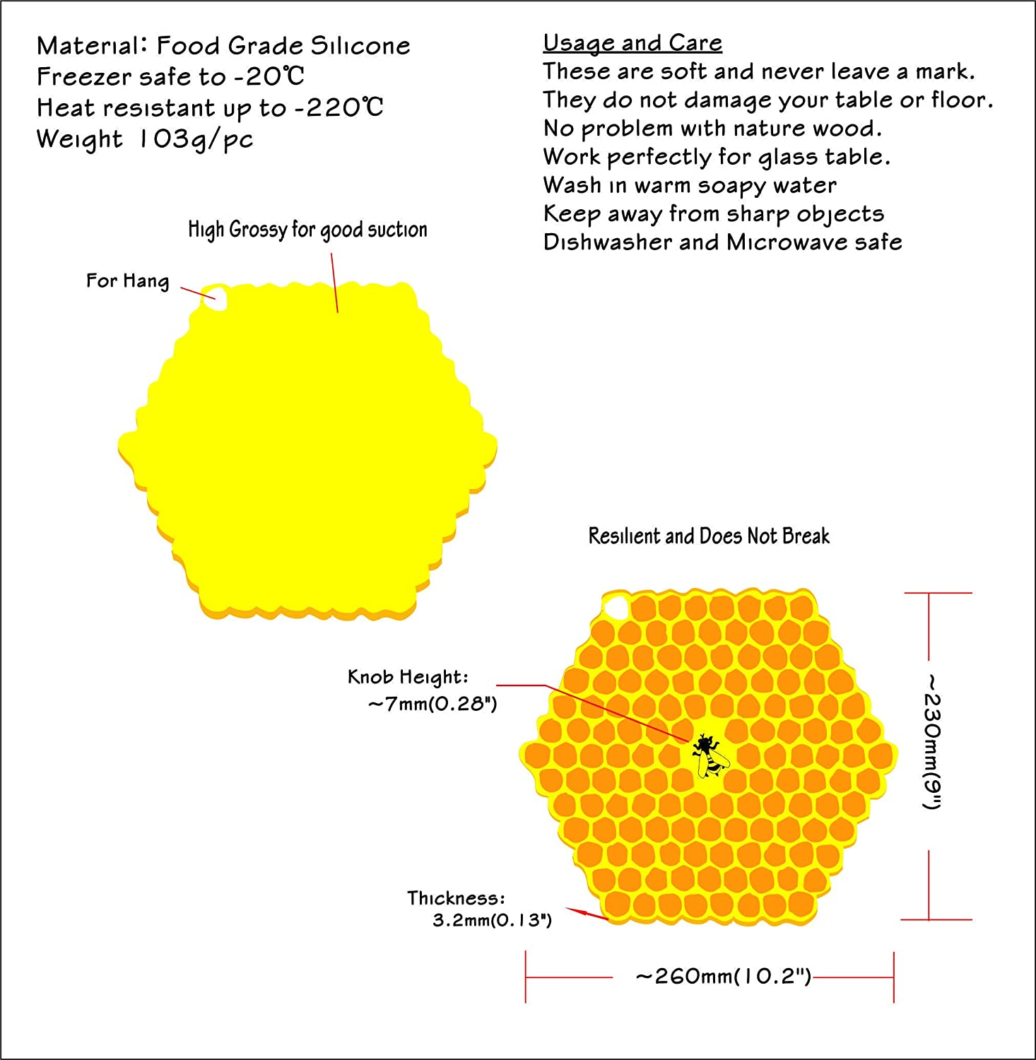 100 Goods Silicone Bee on Honeycomb All-weather Suction Lid 5 6 7 Set of 3 Yellow 5 6 7